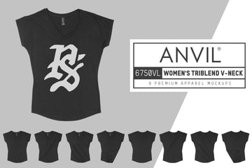 Anvil Knitwear 6750VL Women's Tri-Blend V-Neck T-Shirt Mockups
