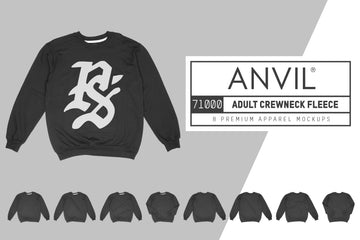 Anvil Knitwear 71000 Adult Crewneck Fleece Mockups