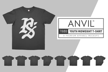 Anvil Knitwear 780B Youth Midweight T-Shirt Mockups