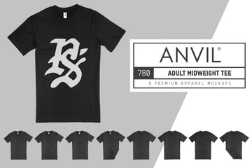 Anvil Knitwear 780 Adult Midweight T-SHirt Mockups