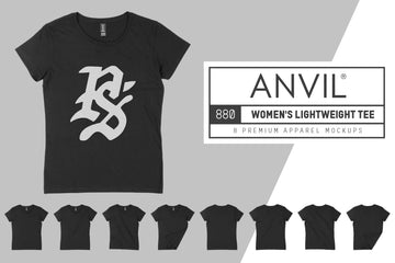 Anvil Knitwear 880 Women's Lightweight Ringspun Fitted T-Shirt Mockups