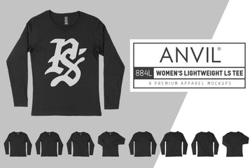 Anvil Knitwear 884L Women's Lightweight Long Sleeve T-Shirt Mockups