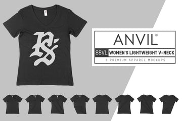 Anvil Knitwear 88VL Women's Lightweight V-Neck T-Shirt Mockups