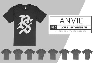 Anvil Knitwear 980 Adult Lightweight T-Shirt Mockups