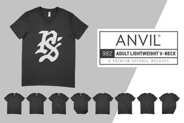 Anvil Knitwear 982 Adult Lightweight V-Neck T-Shirt Mockups