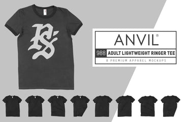 Anvil Knitwear 988 Adult Lightweight Ringer T-Shirt Mockups