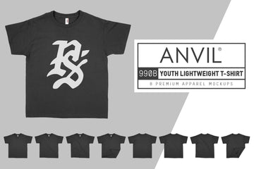 Anvil Knitwear 990B Youth Lightweight T-Shirt Mockups