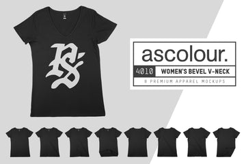 AS Colour 4010 Women's Bevel V-Neck T-Shirt Mockups