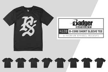 Badger 4120 B-Core T-Shirt with Sport Shoulders Mockups