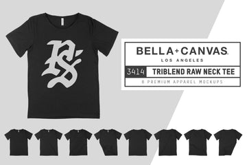 Bella Canvas 3414 Raw Neck Tee Mocks
