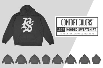 Comfort Colors 1567 Hooded Sweatshirt Mockups