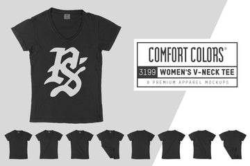Comfort Colors 3199 Women's V-Neck Mockups