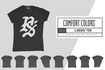 Comfort Colors 3333 Ladies' T-Shirt Mockups