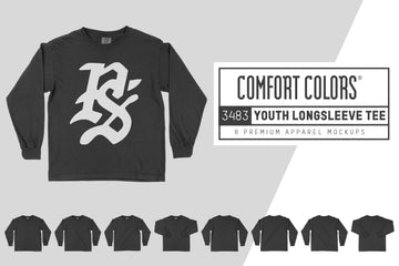 Comfort Colors 3483 Youth Long Sleeve T-Shirt Mockups