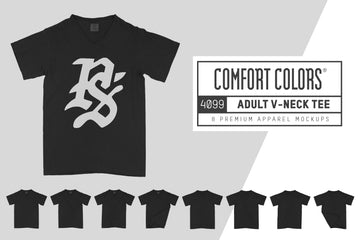 Comfort Colors 4099 Adult V-Neck T-Shirt Mockups