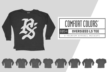 Comfort Colors 6054 Oversized LS T-Shirt Mockups