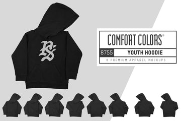 Comfort Colors 8755 Youth Hoodie Mockups