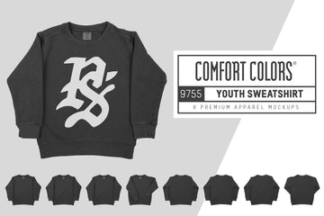Comfort Colors 9755 Youth Sweatshirt Mockups