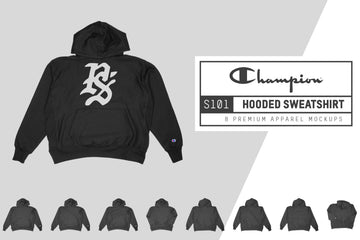 Champion S101 Hooded Sweatshirt Mockups