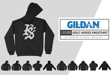 Gildan 18500 Hooded Sweatshirt Mockups