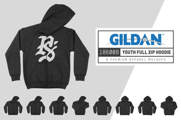 Gildan 18600B Youth Zip Up Hoodie Mockups