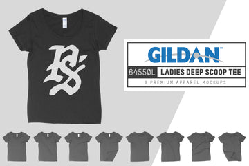 Gildan 64550L Ladies Deep Scoop T-Shirt Mockups