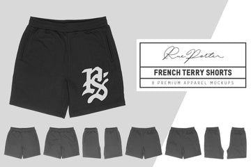 Rue Porter French Terry Shorts Mockups