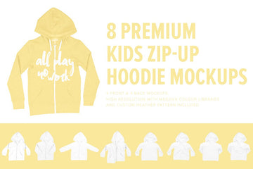 8 Premium Kid's Zip-Up Hoodie Mocks
