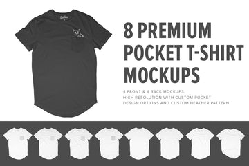 8 Premium Pocket T-Shirt Mockups