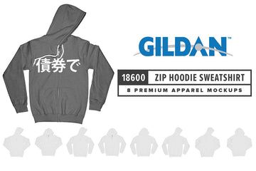 Gildan 18600 Zip Hooded Sweatshirt Mockups