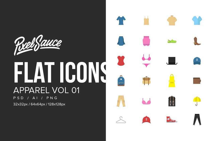 Clothes & Apparel Flat Icons Vol 01