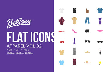 Clothes & Apparel Flat Icons Vol 02