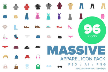 Clothes & Apparel Color Icon Collection