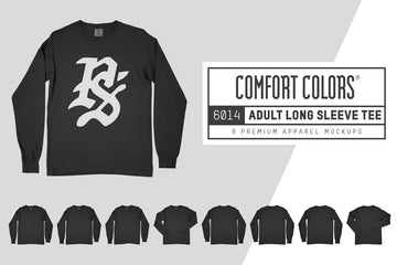 Comfort Colors 6014 Long Sleeve T-Shirt Mockups