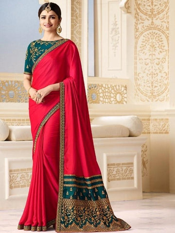 New Sparkle Silk Saree With heavy Embroidered Work Saree in Pink Color