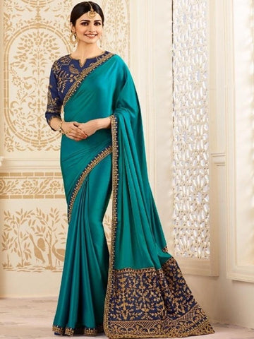 New Sparkle Silk Saree With heavy Embroidered Work Saree in Sea Green Color With Real Images