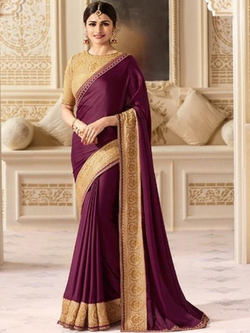New Sparkle Silk Saree With heavy Embroidered Work Saree in Purple Color