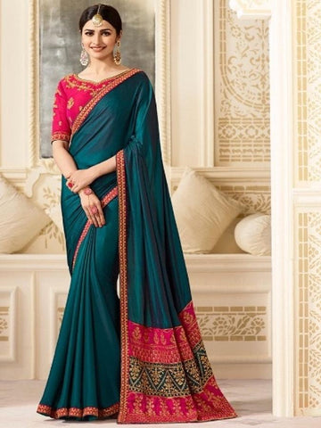 New Sparkle Silk Saree With heavy Embroidered Work Saree in Green Color With Real Images