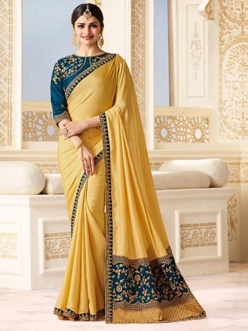 New Sparkle Silk Saree With heavy Embroidered Work Saree in Yellow Color