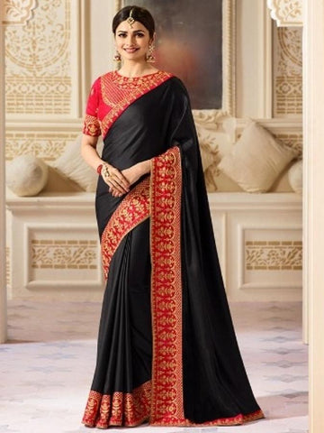 New Sparkle Silk Saree With heavy Embroidered Work Saree in black Color
