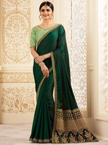 New Sparkle Silk Saree With heavy Embroidered Work Saree in Green Color