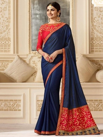 New Sparkle Silk Saree With heavy Embroidered Work Saree in Blue Color