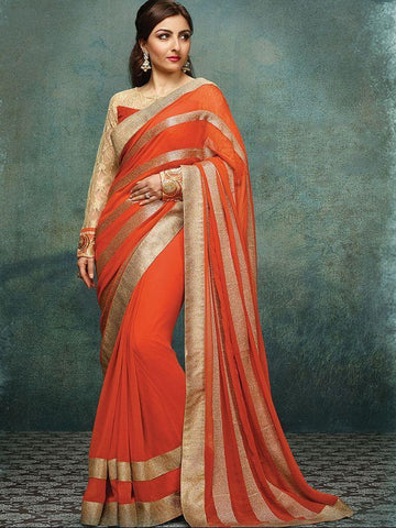 Bollywood Designer Georgette Lace Border Orange Color Party Wear Saree