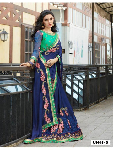 Ravishing Blue color Embroidered Saree