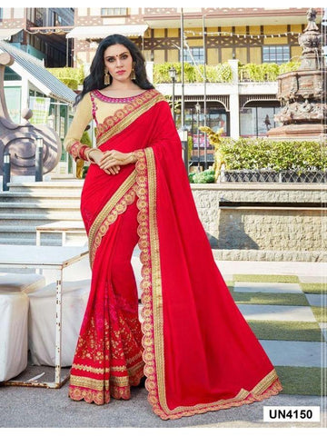 Ravishing Red color Embroidered Saree