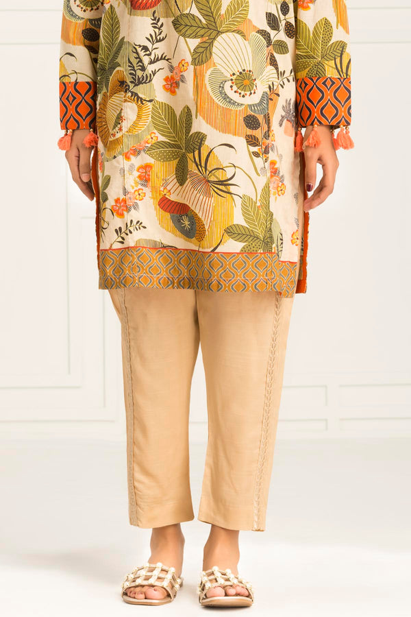 Beige EMB Straight Pant