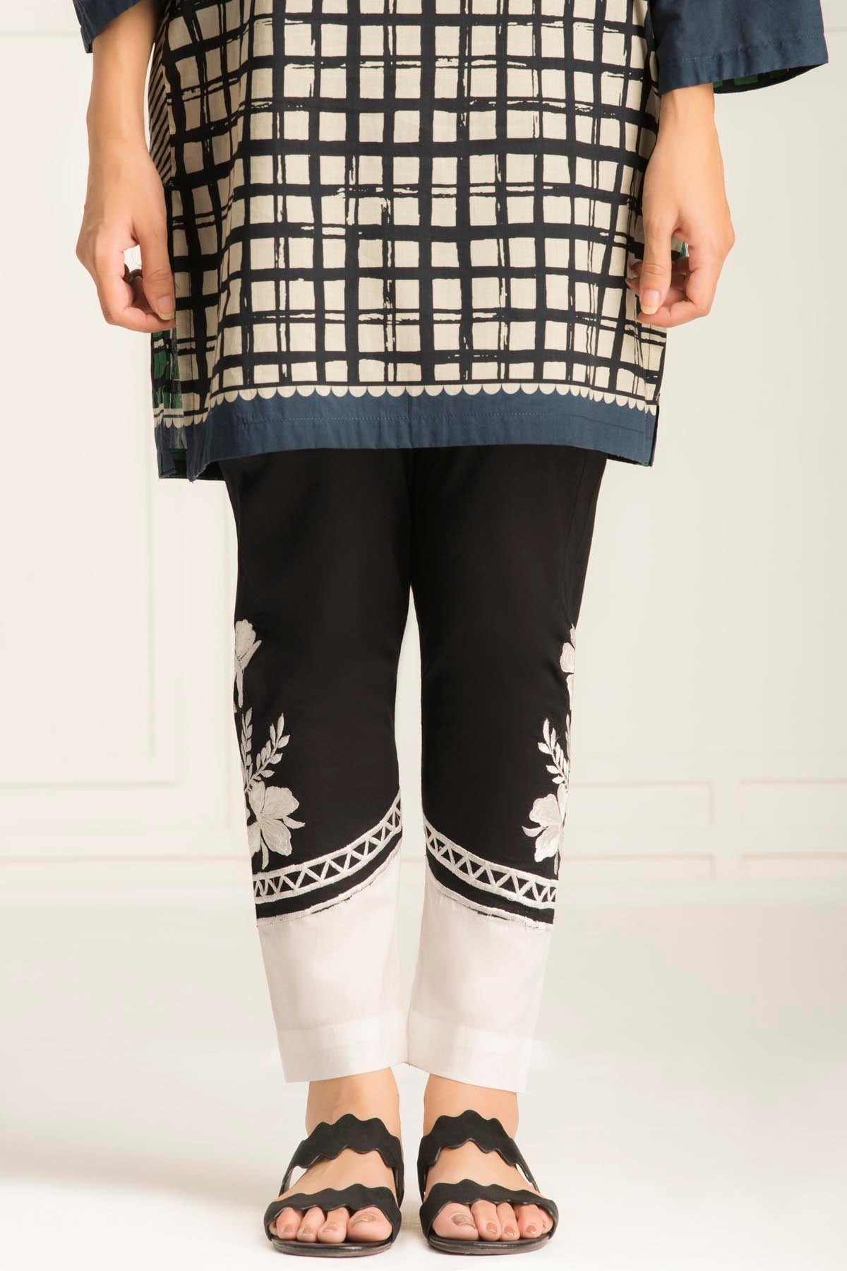 Straight Embroidered Trouser