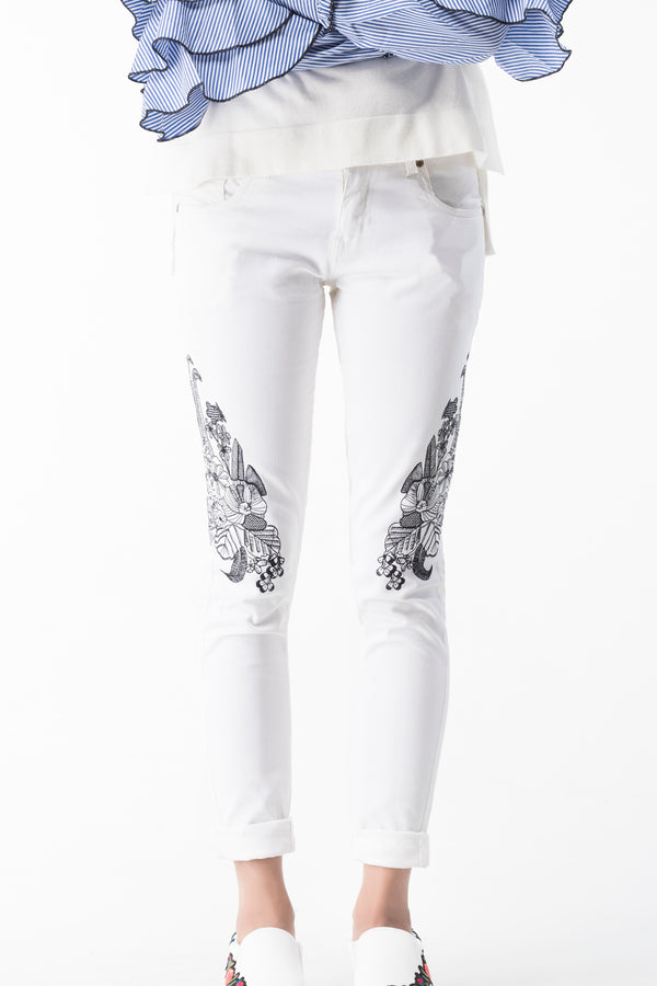 Twill White Embroidery Denim