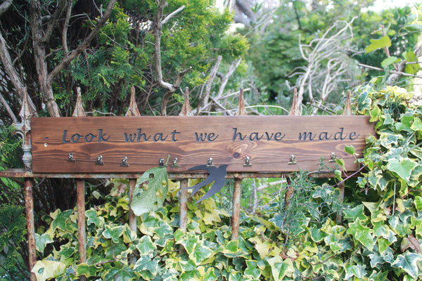 "Kids Art Work Display ""Look What We Have Made"" Sign Wood Stain Finishes"