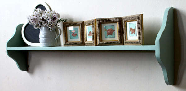 no assembly one tier pine wall shelf hand painted